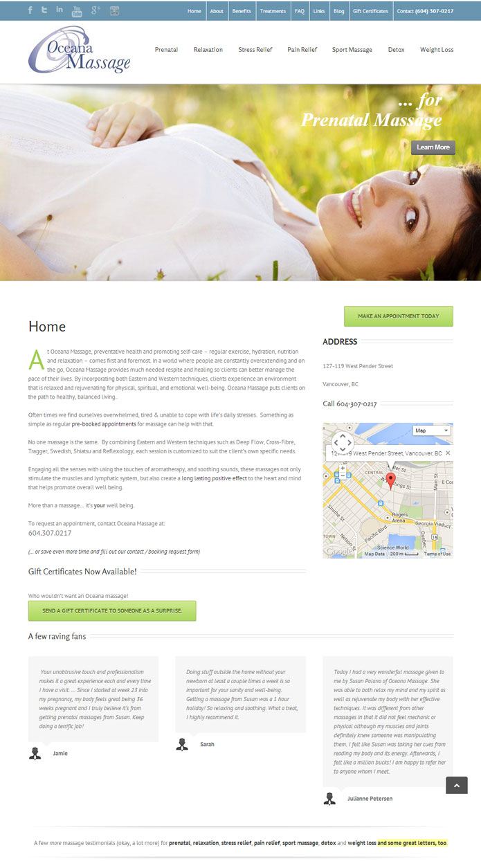 Oceana Massage | Web Design, Solutions Development