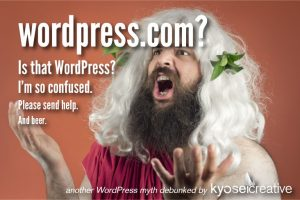 This Greek god is confused about the difference between WordPress and WordPress.com