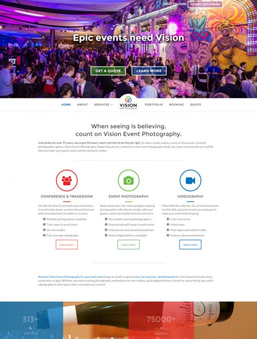 Vision Event Photography web design, copywriting and brand development project by Kyosei Creative (2016)
